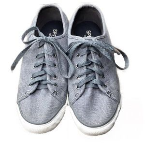 Sperry Top Sider Gray Woven Canvas Lace Sneakers